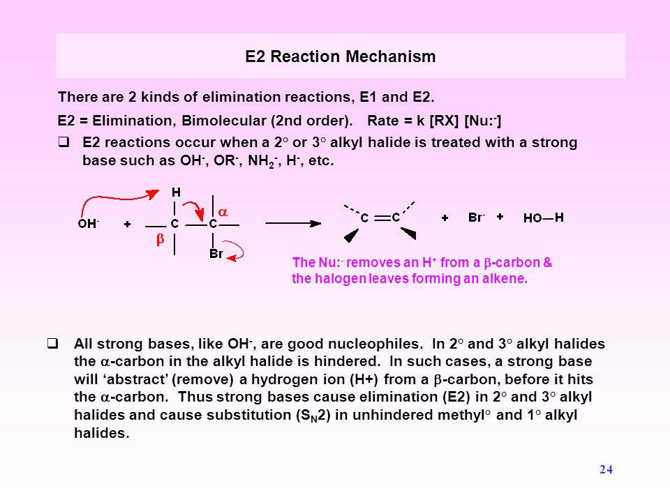 E2 Reaction Mechanism There are 2 kinds of elimination reactions, E1 and E2. E2 = Elimination, Bimolecular (2nd order). Rate = k [RX] [Nu:-]